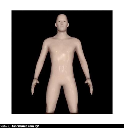 Gif 3D del manichino che esce dallo schermo
