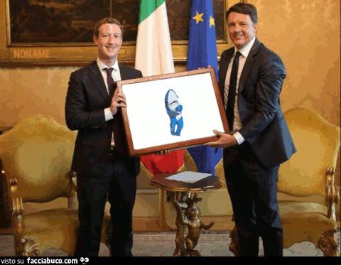 Mark Zuckerberg incontra Matteo Renzi e squalo che balla