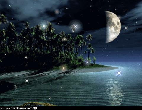 Isola Mare Luna E Stelle Che Brillano Facciabuco Com